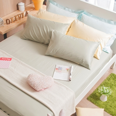 OLIVIA 果綠 鵝黃 單人床包枕套兩件組 素色無印