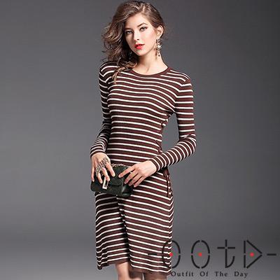 針織圓領條紋綁帶長袖洋裝 (咖啡色)-OOTD