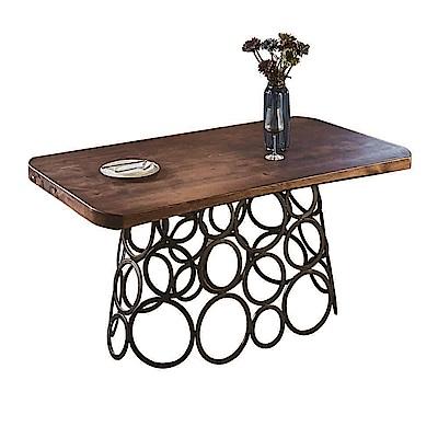 AT HOME-馬卡工業風設計5尺厚切原木圓圈鐵藝餐桌洽談桌(150*85*76cm)