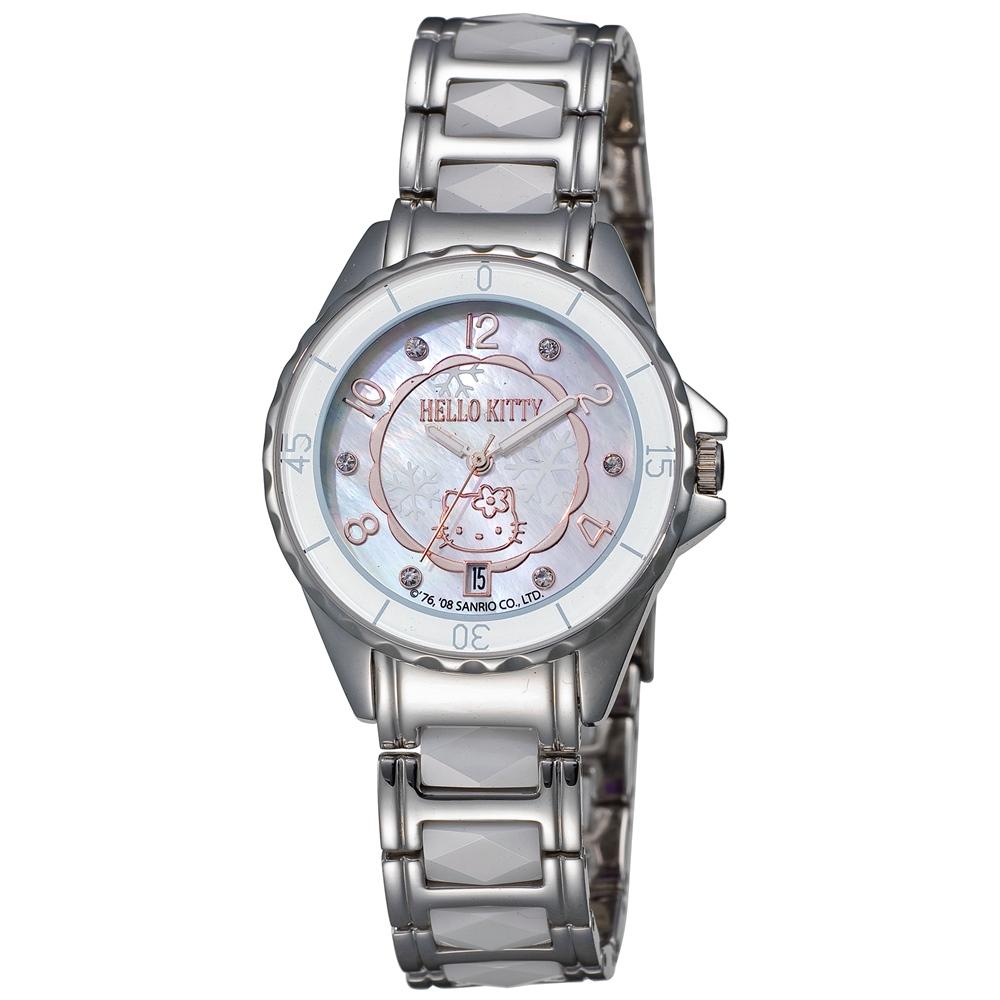 HELLO KITTY 凱蒂貓浪漫雪花陶瓷手錶-白x玫瑰金/33mm