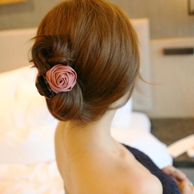 梨花HaNA  韓國玫瑰人生精緻緞帶手工髮夾小抓夾