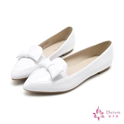 達芙妮DAPHNE-甜美糖衣漆皮蝴蝶結樂福鞋-純淨