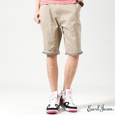 Earl Jean-褲管條紋反折短褲-卡其