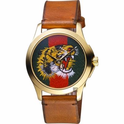 GUCCI 古馳 老虎刺繡手錶-咖啡色錶帶/38mm