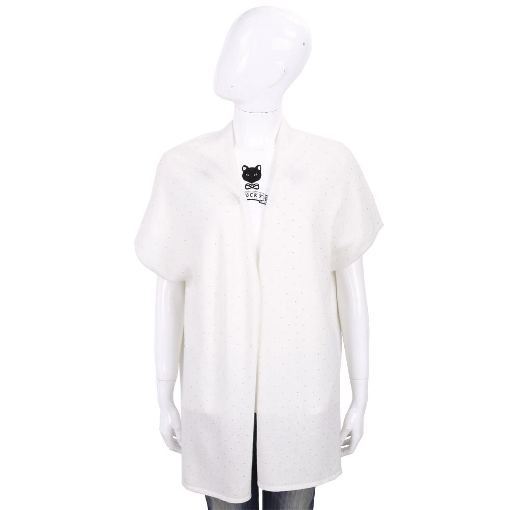 ALLUDE 喀什米爾米白色星空鑽飾長版針織羊毛罩衫