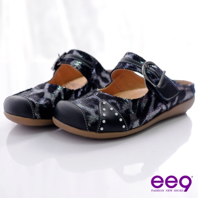 ee9-休閒隨興-進口小牛壓紋雙色真皮勃肯懶人包鞋-百搭黑