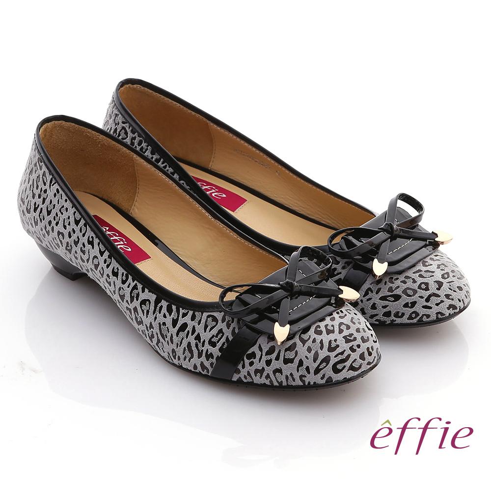effie 玩色普普 鏡面羊皮豹紋低跟鞋 黑