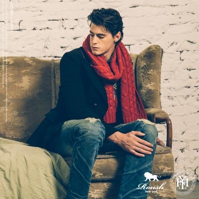 ROUSH 粗針麻花高磅數混羊毛圍巾 (4色)
