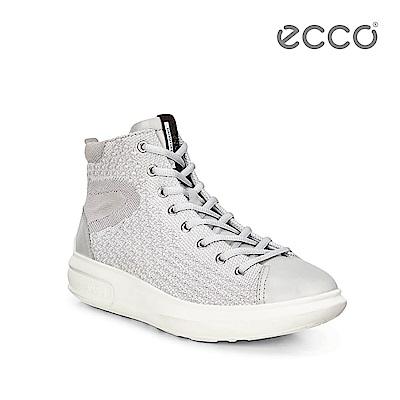 ECCO SOFT 3 亮彩針織中筒增高休閒鞋-灰白