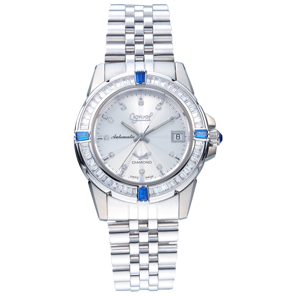 Ogival 瑞士愛其華 璀燦真情梯型寶石真鑽機械錶-白/40mm