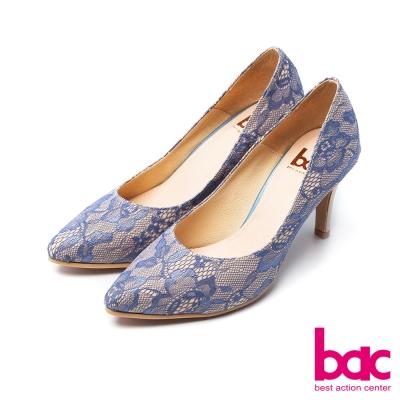 bac浪漫美學柔美雙層蕾絲尖頭高跟鞋藍
