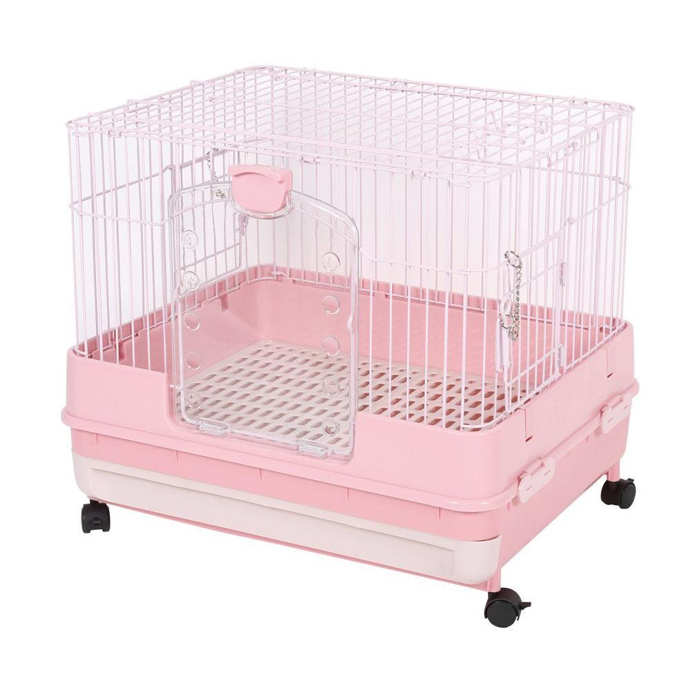 日本Marukan 改版新款 抽屜式精緻挑高兔籠 粉色(MR-995)
