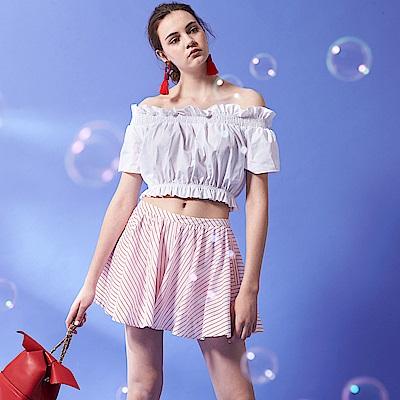 ICHE 衣哲 氣質微甜傘擺立體空氣感線條印花設計造型短裙-紅