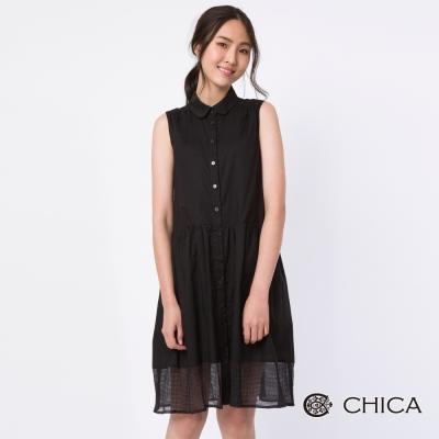 CHICA 恬靜秋氛無袖襯衫式設計洋裝(2色)