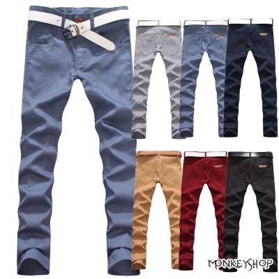 小猴子的賣場   簡約時尚款素面皮標拼接休閒長褲-6色