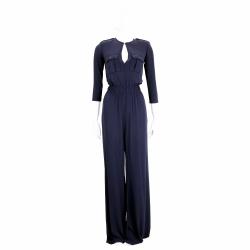 ELISABETTA FRANCHI 深藍色口袋設計鬆緊縮腰七分袖連身褲