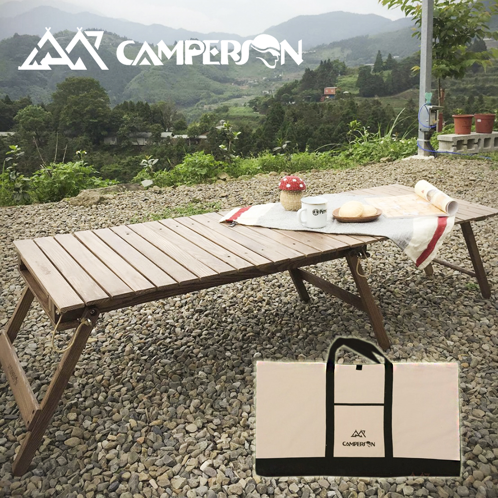 CAMPERSON 多功能攜帶型折疊原木桌(桌面可調整大小) / 露營桌 / 野餐桌