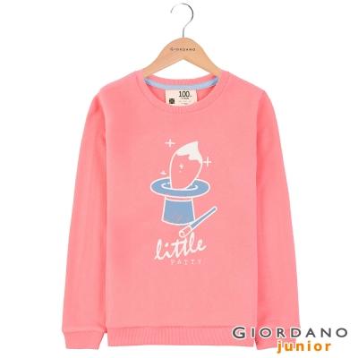GIORDANO 童裝毛巾布圓領可愛印花T恤 - 13 鮭魚玫瑰紅