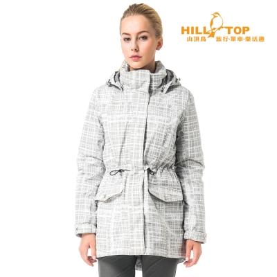 【hilltop山頂鳥】女款防水蓄熱羽絨外套F22FW6黑底/白灰印花