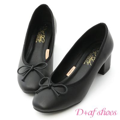D+AF 輕漾甜美.小蝴蝶中跟芭蕾娃娃鞋*黑