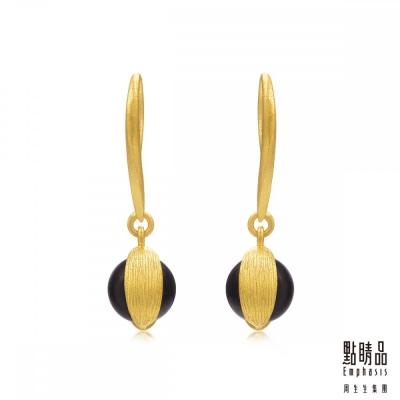 點睛品Emphasis 黃金耳環- g* collection -純金黑玉髓耳環