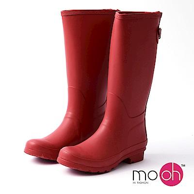 mo.oh愛雨天-素面長筒後搭扣雨靴-紅色