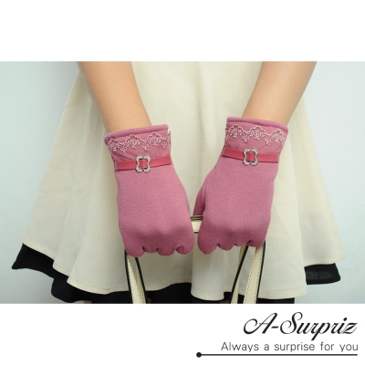 A-Surpriz-蕾絲邊仿皮革精梳棉觸控手套-深粉