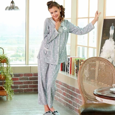睡衣 精梳棉柔針織 長袖兩件式睡衣(67203)麻灰色 蕾妮塔塔