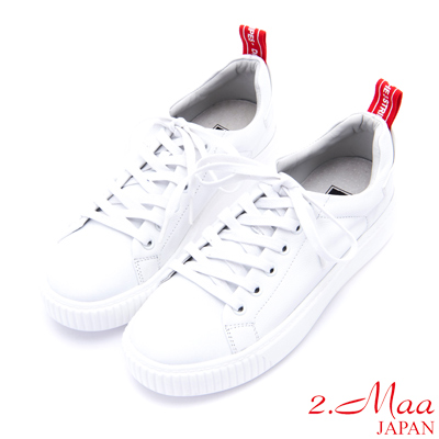 2.Maa - 舒適好穿牛皮綁帶小白鞋 - 白