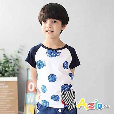 Azio Kids 童裝-上衣 條紋魚口袋短袖T恤(白)
