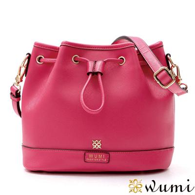 WuMi 無米 貝絲十字紋束口水桶包 俏麗桃