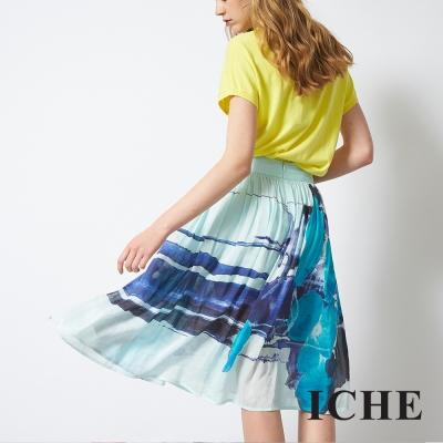 ICHE 衣哲 輕時尚印花膝下百搭造型長圓裙