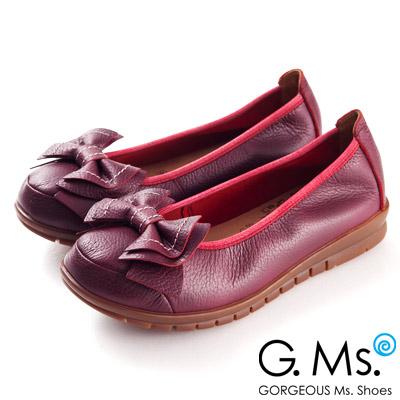 G.Ms.  MIT系列-全牛皮車線雙層蝴蝶結娃娃鞋--典雅紅