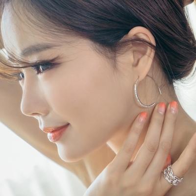 梨花HaNA-韓國S925耳環微鑲曲線半月皓鑽耳環