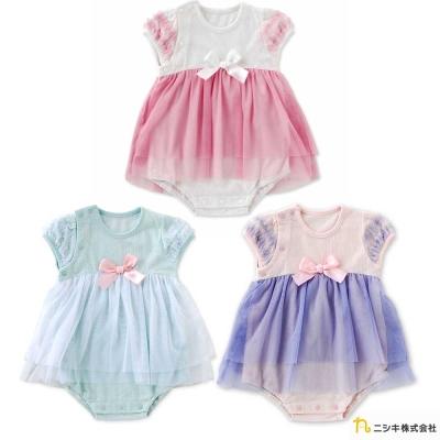 Nishiki 日本株式會社 粉嫩馬卡龍蝴蝶結雪紡短袖包屁洋裝