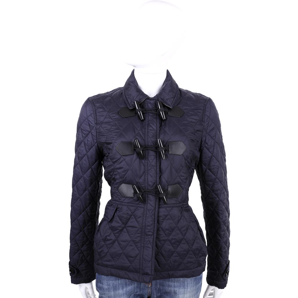 BURBERRY 深藍色牛角釦菱格車縫外套