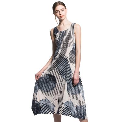 簡約青花無袖圓領壓摺洋裝-玩美衣櫃