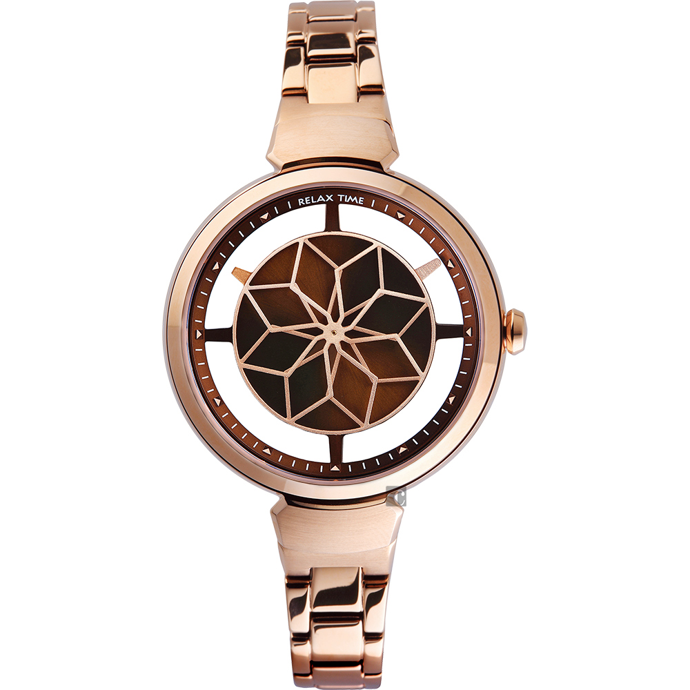 RELAX TIME RT63 綻放光彩女人腕錶-咖啡x玫塊金/36mm