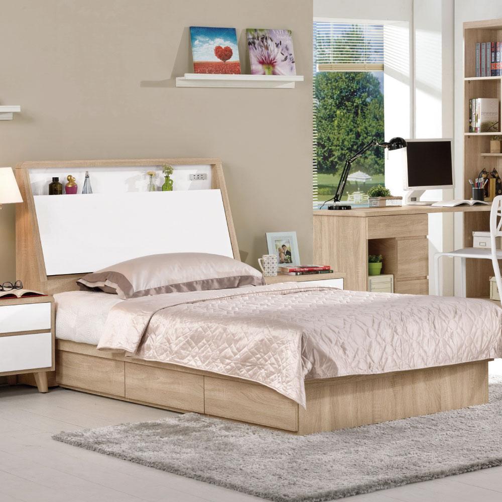 床台 單人3.5尺 伯肯 雙色(床頭箱+床底)不含床墊 品家居