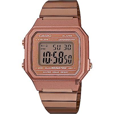 CASIO卡西歐 復古文青大數字電子錶-玫瑰金