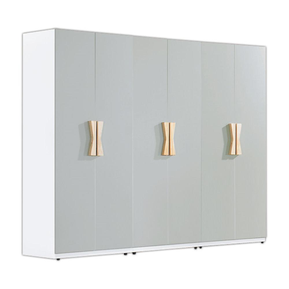 二日配  居家生活 納維亞7.5尺雙色組合衣櫃-白橡色