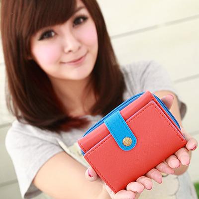 【Miyo皮夾】馬卡龍雙色圓釦拉鍊短夾(橙藍)
