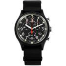 TIMEX 天美時 INDIGLO專利冷光照明 三眼計時 日期 帆布手錶-黑色/40mm