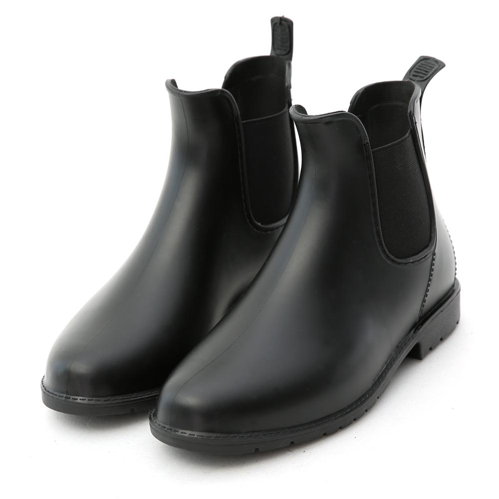 D+AF 日系風格.側鬆緊切爾西短筒雨靴*黑