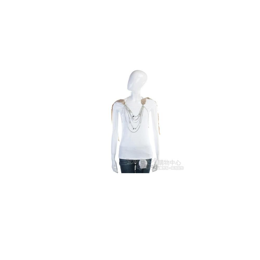 BLUGIRL-Folies 白色緞帶鍊飾短袖上衣