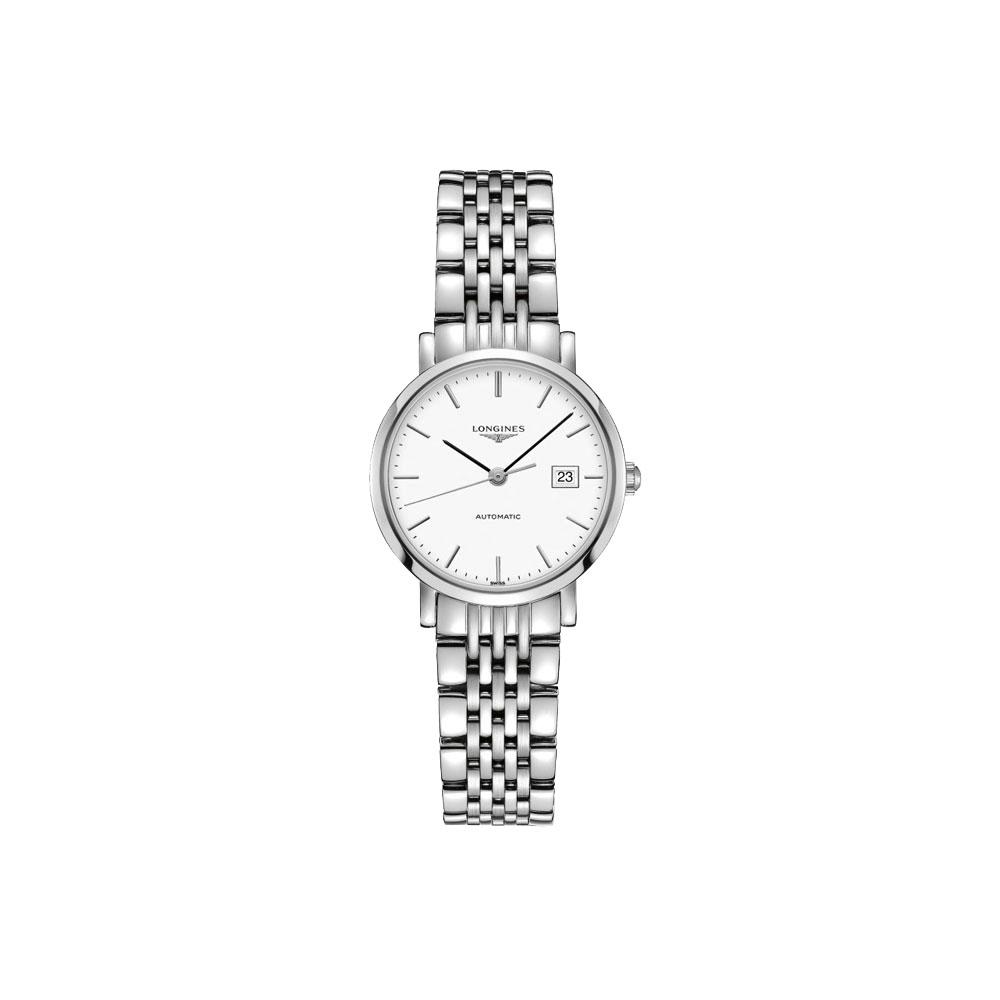 LONGINES Elegant 優雅系列機械女錶-白/28mm L43104126