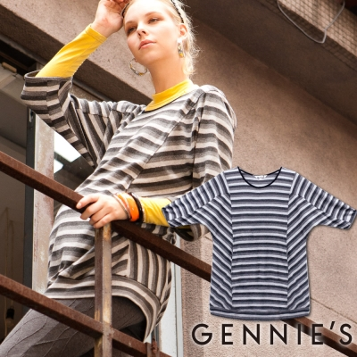Gennies奇妮-Faravani系列-橫條紋暖感秋冬七分袖上衣(C3210)-灰