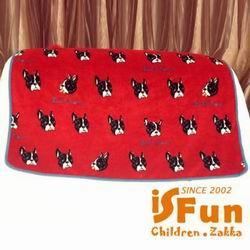 iSFun 兒童專用黑色狗頭 保暖珊瑚絨嬰兒毛毯 紅100x72cm