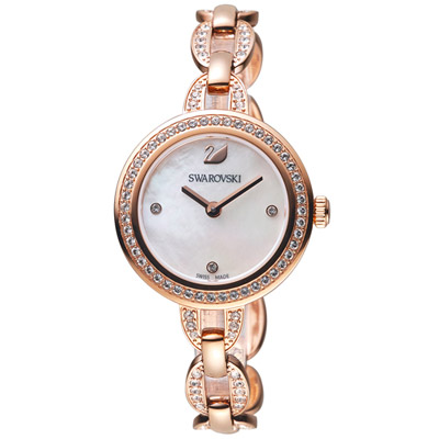 SWAROVSKI 施華洛世奇 璀璨光輝鍊式腕錶-玫瑰金色/28mm