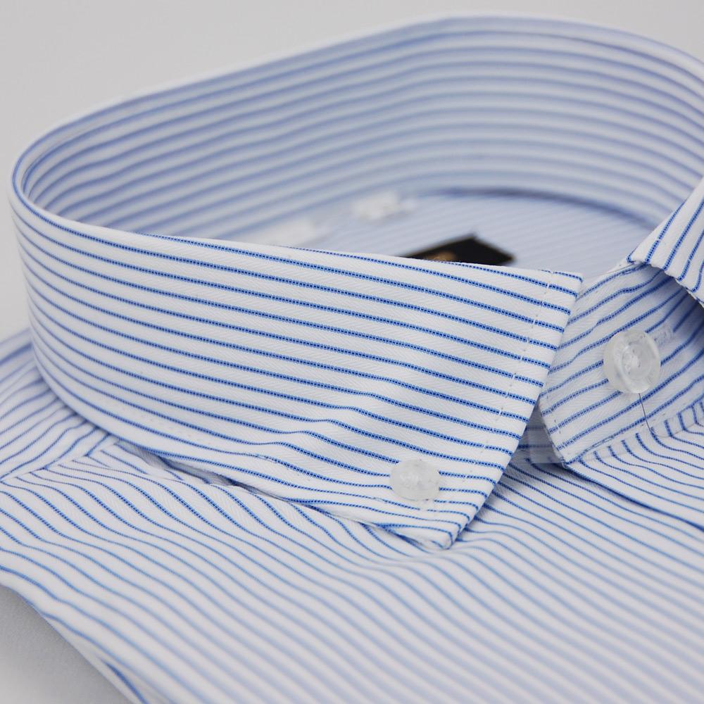 【金安德森】藍色條紋釘釦窄版長袖襯衫